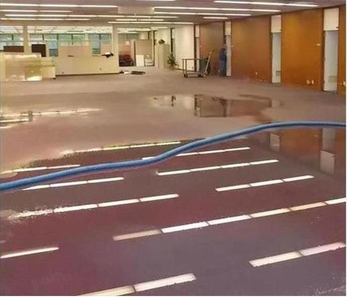 Office space filled with water