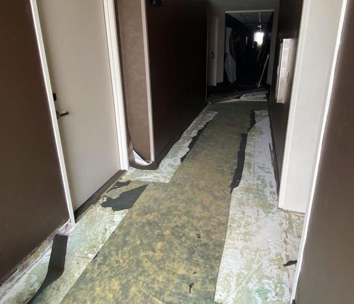 carpet removed in hotel hallway
